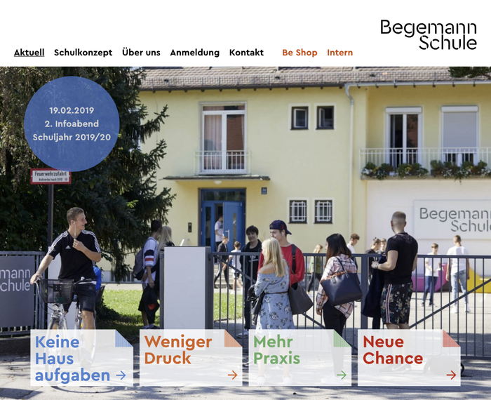 Homepage of the school's website. Cera Bold is specified for menus and headings, Cera Regular for text, with the Medium weight used for emphasis.