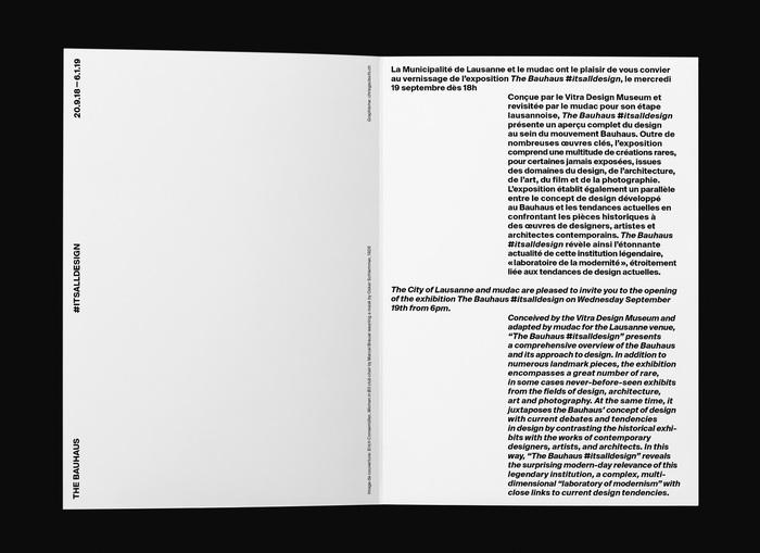 The Bauhaus #itsalldesign, mudac 3