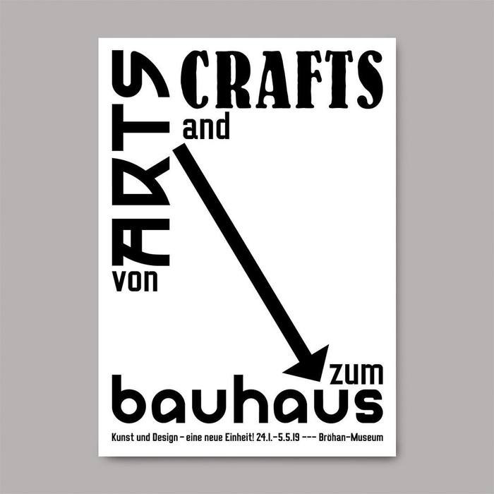Announcement card, October 2018. This first application features the most direct graphic translation of the title, with the focus on the arrow that leads from Arts and Craft to the Bauhaus. See also this poster by Lucian Bernhard from 1919/1923. The smaller type is in Luigi, a private font designed by Timo Thurner. Among commonly available fonts, Michael Doret's  Condensed probably comes closest.
