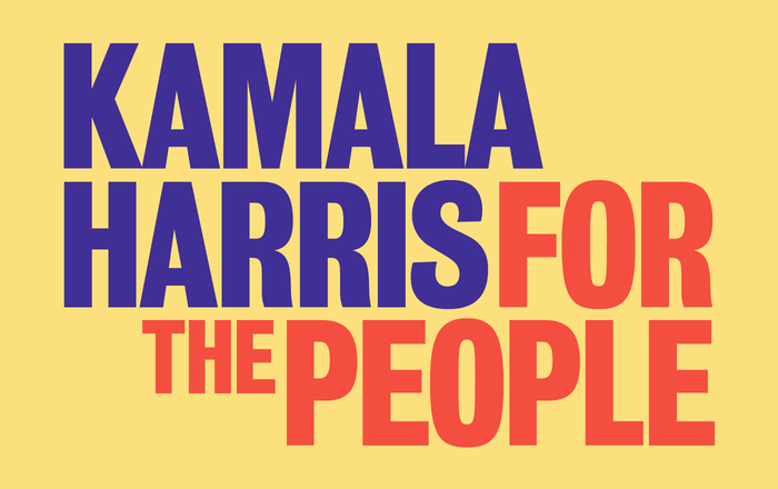 Wide Eye's asymmetrical typographic logo for the Kamala Harris: For The People campaign uses Bureau Grot Condensed to great effect.