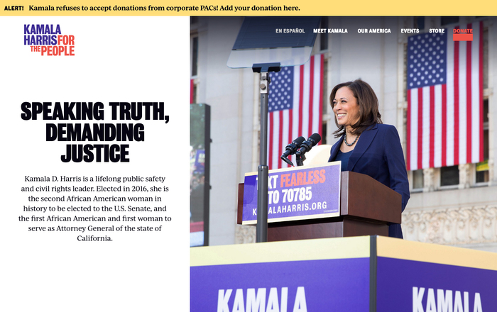 Biography page on the Kamala Harris: For The People website.