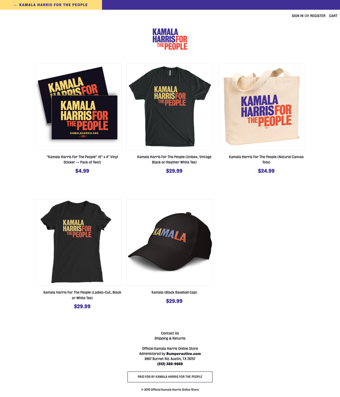 Branded merchandise in the Kamala Harris: For The People online store.