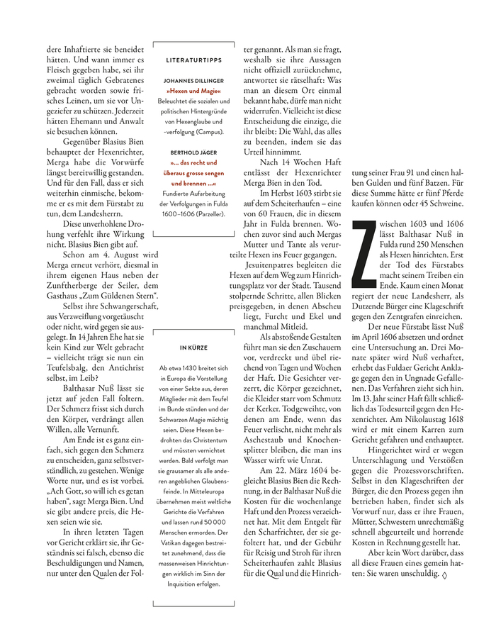 "The column text wraps around the book references and the summary, which are set in center-aligned Brandon Grotesque and framed by horizontal square brackets. Garamond Premier is used with (default) lining numerals and activated contextual alternates (see the sweeping Q tail). While the body copy features ""comma-shaped"" quotation marks, the smaller sans-serif text shows »guillemets«. Both forms are common in German typography."
