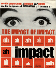 """The Impact of Impact"" typeface advert brochure"