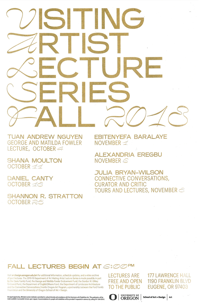University of Oregon, Visiting Artist Lecture Series 6