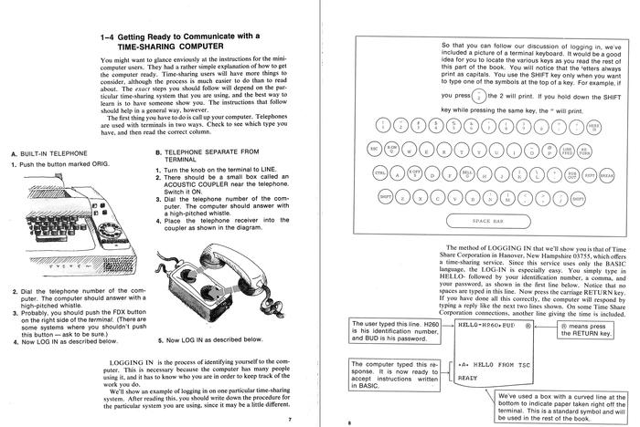 Pages 7 and 8. The glyphs and commands on the buttons of the keyboard image use an as yet unidentified (proportional) typeface.