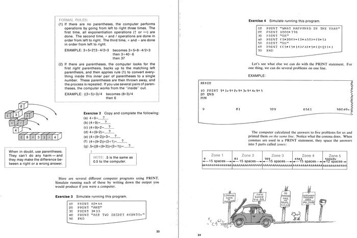 Pages 33 and 34, showing actual (monospaced) printer output.