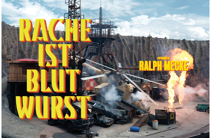 """Kino in use on a spread from Achtung #28. Photography by Ralph Mecke. """"Rache ist Blutwurst"""" is a German saying that could be translated to """"You'll be sorry"""". Its literal translation is """"Revenge is blood sausage."""""""