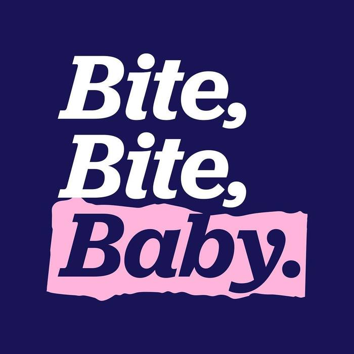 """Bite, Bite, Baby."" – The ripped paper background here is used for a textmarker effect."