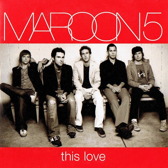 """""""This Love"""" single, 2004. In this seemingly older logo, every letter overlaps the next, except that the legs of the M and R are cut where they meet the A."""