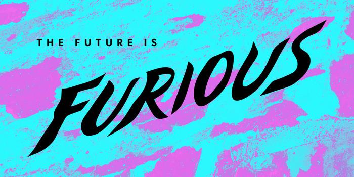 """The Future Is Furious"" cover lettering (Jessica De Jesus, design lead)"