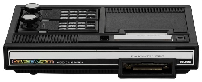 The Coleco Industries logo (seen at the far right of this console) uses a much older rectangular sans,  (or ).