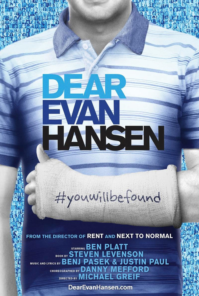 """You Will Be Found."" The official poster for the Broadway production of the Tony Award-winning musical, Dear Evan Hansen. Poster design by Serino Coyne."