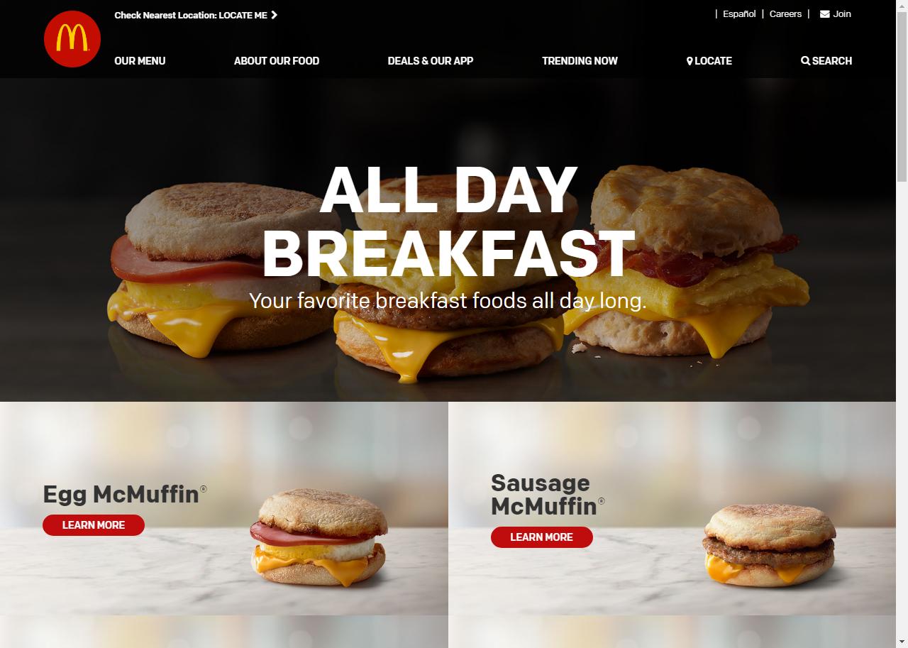 Mcdonalds Homepage