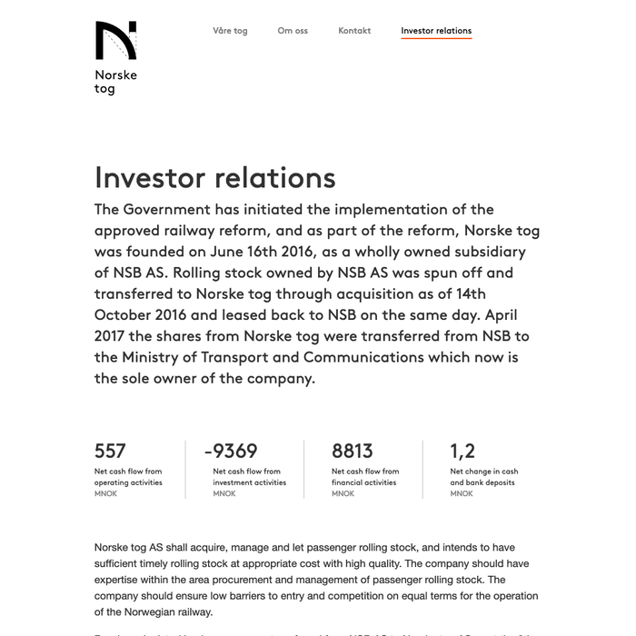 Detail: Investor relations.