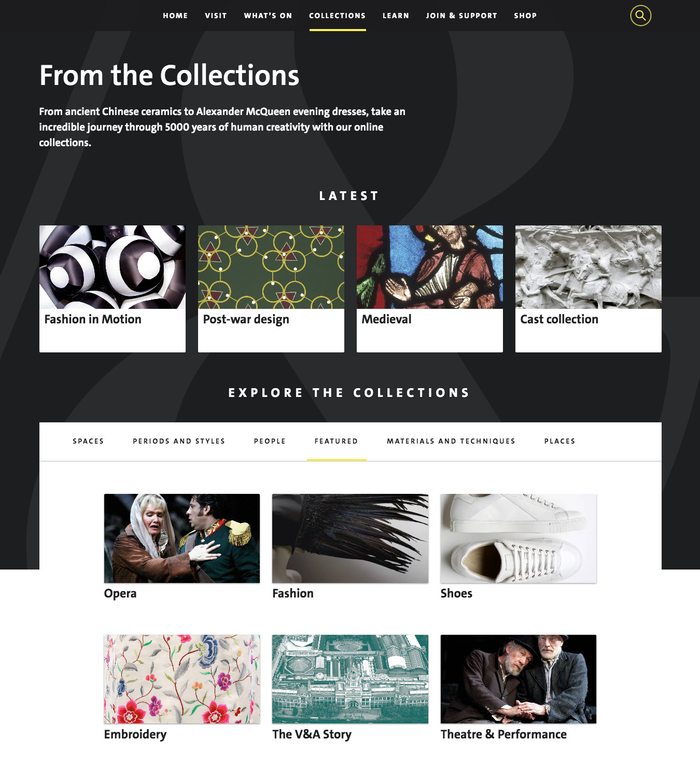 Collections index page