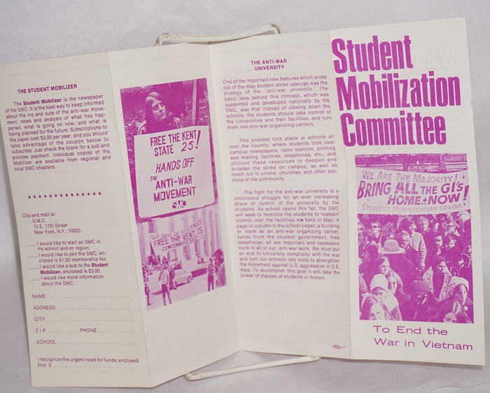 "Eight-panel brochure, SMC New York. Appears to be from late 1970 or 1971; one photo shows a demonstrator with a sign calling to ""Free the Kent State 25."" , Adonis (""To End the War in Vietnam""), and  (text)."