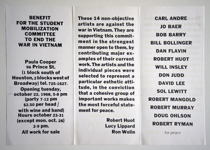"Flyer for a show at Paula Cooper Gallery as a benefit for the Student Mobilization Committee to end the war in Vietnam. Set in , with ""for peace"" in  Italic."