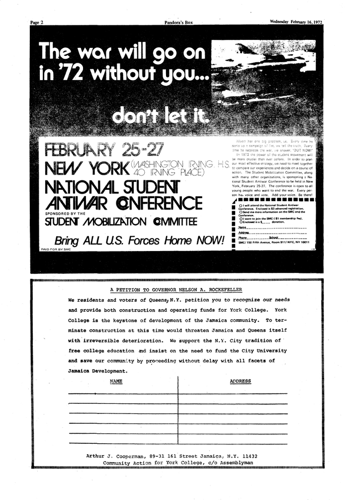 """The war will go on in '72 without you… don't let it."" From Pandora's Box, Feb. 16, 1972, York College of the City University of New York. ,  (with alternates and ligatures), and ."