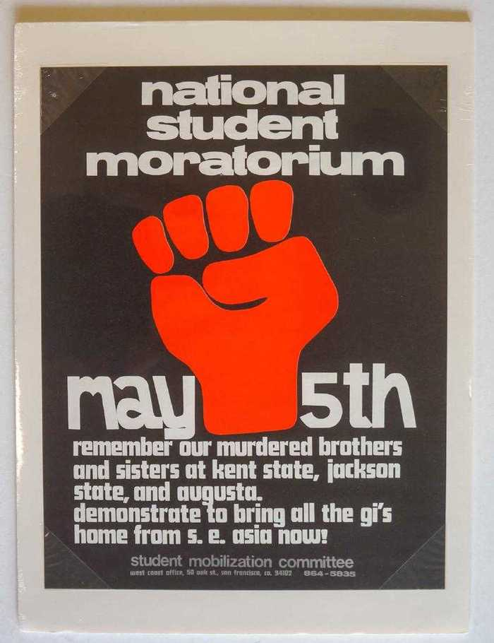 """Remember our murdered brothers and sisters at Kent State, Jackson State, and Augusta. Demonstrate to bring all the GI's home from S. E. Asia now!"" Poster by the SMC San Francisco, featuring tightly spaced Annonce and Futura Display. The logo appears to be in Akzidenz-Grotesk, also in all-lowercase letters."
