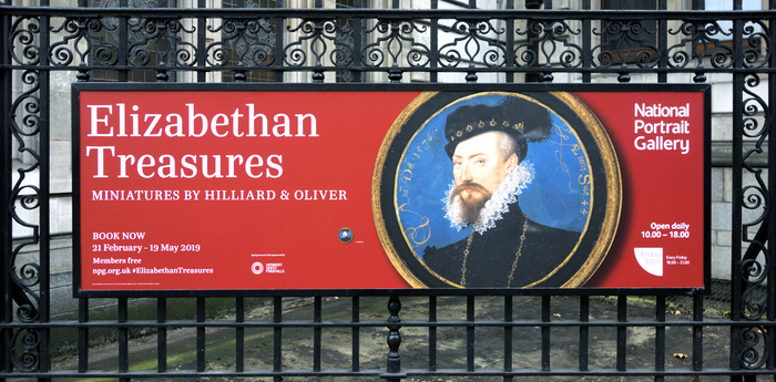 Exhibition poster outside the National Portrait Gallery, London