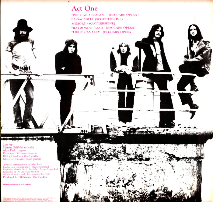 The track list and credits on the gatefold are set in pink .