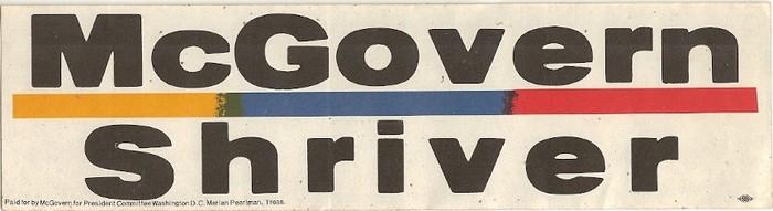 1972 George McGovern Campaign bumper stickers 2