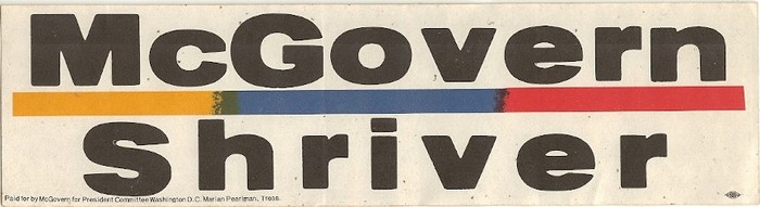 1972 George McGovern Campaign bumper stickers 2