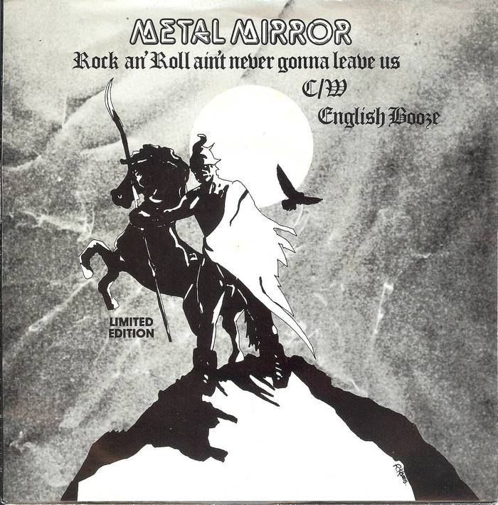 """Metal Mirror, """"Rock an' Roll Ain't Never Gonna Leave Us"""" single, 1980."""