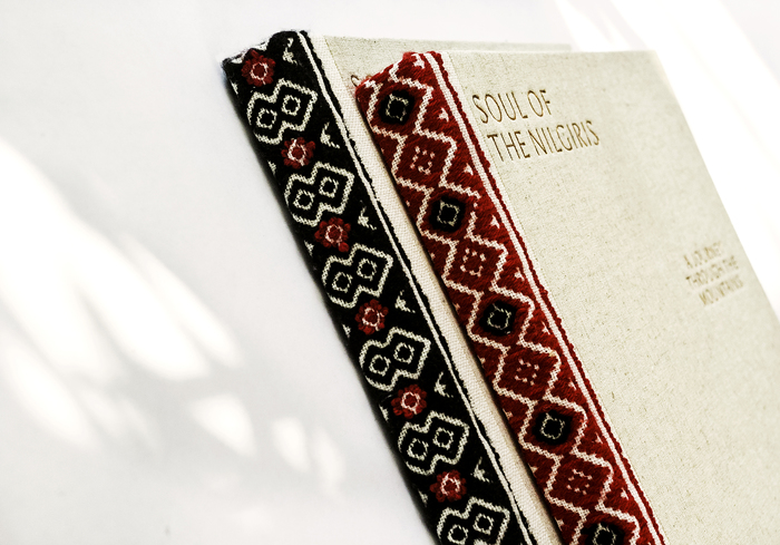 The spines were hand sewn by women from the Toda tribe in a process that took more than a year. Different designs make each book unique.