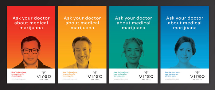 """Ask your doctor about medical marijuana."" Vireo's poster campaign was the first ever to advertise for medical marijuana in the NYC subway."