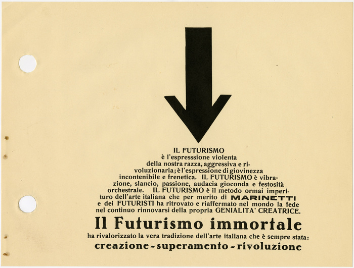 "Page 65, ""Il Futurismo immortale"" (The Immortal Futurism). Romanisch halbfett is paired with Bernhard-Antiqua fett. The bold wide grotesk for ""Marinetti"" is unidentified (see also page 89)."