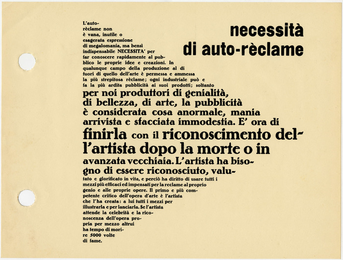 "Page 57 is the first in a series of typographic compositions Depero refers to as manifesti murali, or wall manifestos. [Camillini et al.] The arrow-shaped text is set in three sizes of Bernhard-Antiqua fett. The clumsy grotesk for ""necessità di auto-rèclame"" (""the need for self-promotion"") is unidentified."