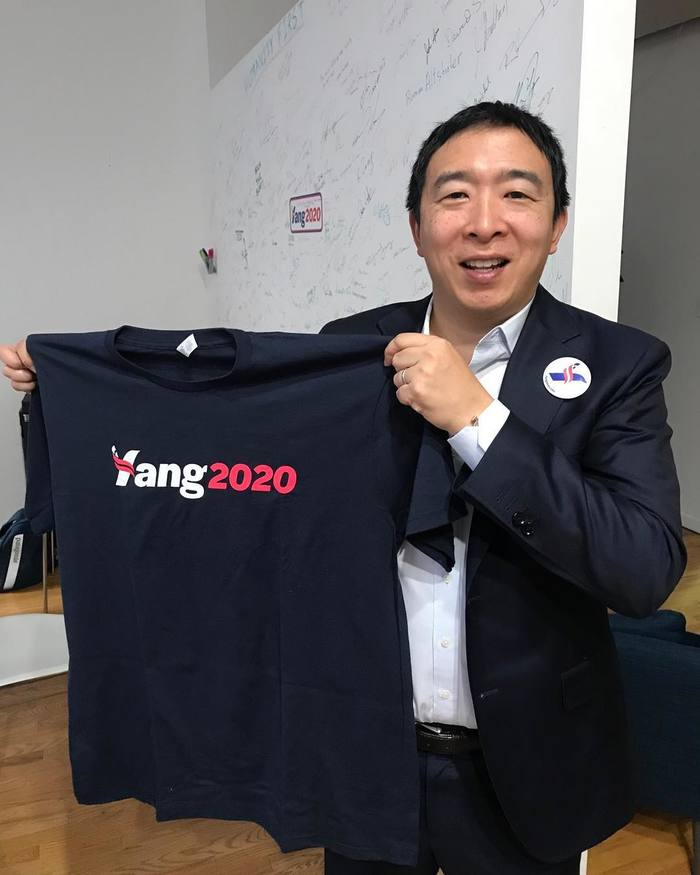 Yang with a campaign T-shirt.