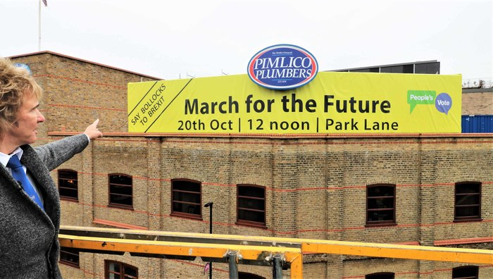 "17 October 2018: ""On Monday, I took the decision to temporarily replace our giant 'Bollocks to Brexit' sign with an equally as important and large message – to urge all those concerned about the shattering impacts of Brexit, to get to Park Lane at midday on Saturday and March For The Future!"""