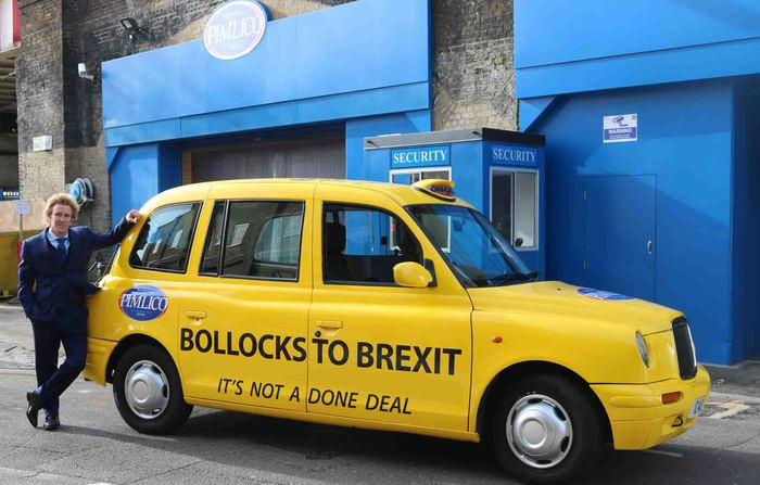 "24 October 2018: ""Yesterday we launched our latest weapon in the war against Brexit, our own Pimlico Plumbers London taxi cab, which now proudly proclaims 'Bollocks to Brexit' as it goes about its business ferrying our staff, especially the apprentices, to and from jobs across London."""