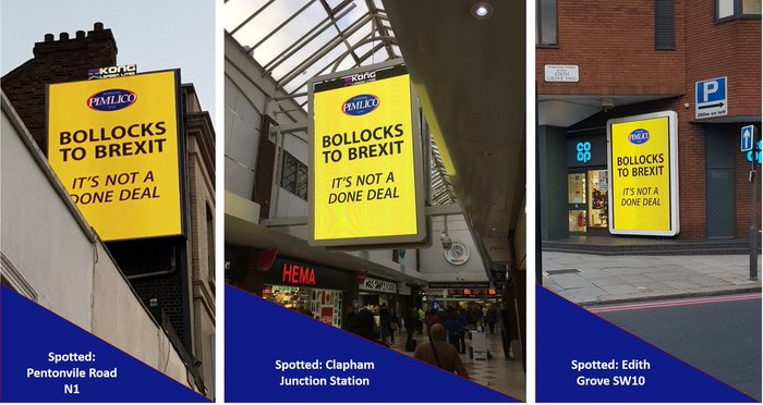 """""""A London businessman who has been asked by a local council to remove a 100-foot """"Bollocks to Brexit"""" sign above his premises has stepped up his fight. Charlie Mullins, who owns Pimlico Plumbers, had previously accused Lambeth council of trying to stifle freedom of speech when it contacted him asking to remove the sign above his store."""" — The New European, 9 October 2018."""