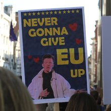 """Never Gonna Give EU Up"" Brexit protest placard"
