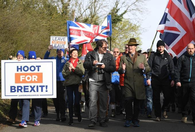 Former Ukip leader Nigel Farage spearheads the March to Leave protests.