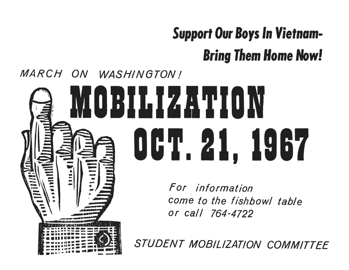 ,  Bold Italic, and  Italic on a flyer about the October 21st, 1967 March on Washington to end the Vietnam War.