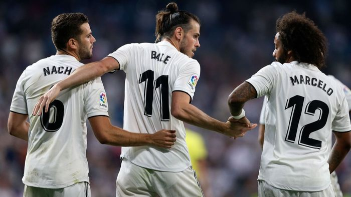20 August 2018. Nacho, Bale and Marcelo in the opening match of La Liga 2018-19 (against Getafe, 2-0).