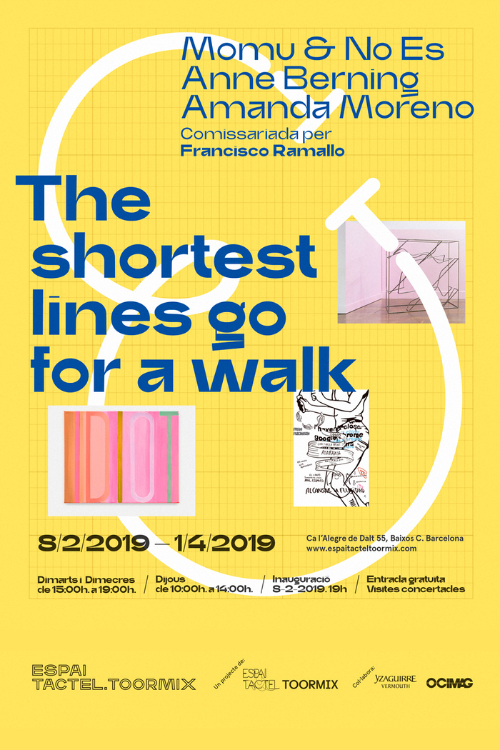 Poster for the second exhibition, The shortest lines go for a walk.