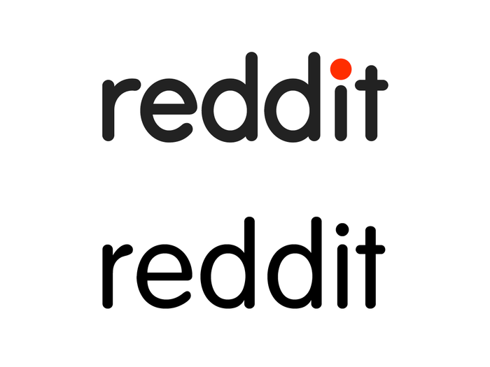 The Reddit wordmark (top) compared to VAG Rounded Light (bottom). The modifications are particularly noticeable in the overall weight, the longer arm of r, and the shape of e.