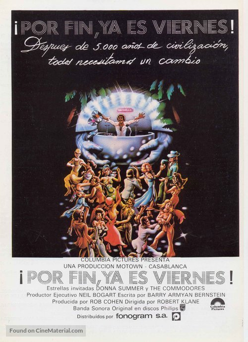 """¡Por Fin, Ya Es Viernes! (""""At last, it's Friday!"""") – the Spanish poster also uses Futura Dot. Small print in Univers."""