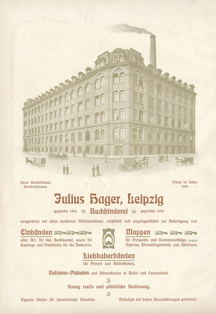 Full-page ad from the 1902 edition of Die Graphischen Künste der Gegenwart, a compilation of Jugendstil art and printing.