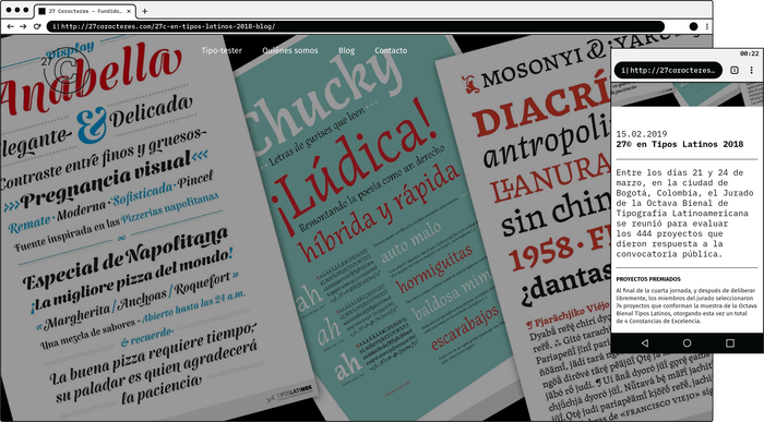 Blog post. Three of our typefaces, Anabella©, Chucky© & Mosonyi© awarded by Tipos Latinos 2018.