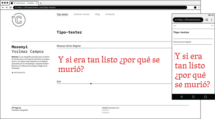 Our type tester (Fontsampler by Underscore).