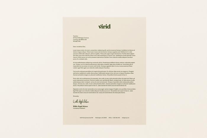 Virid's letterhead design