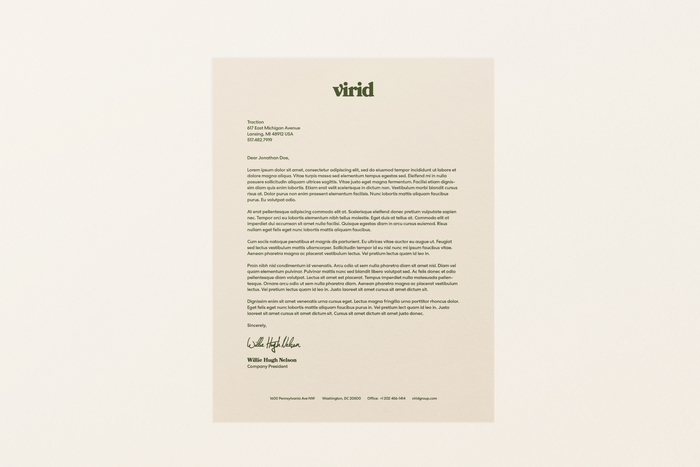 Virid's primary wordmark set in each of the brand's color combinations.