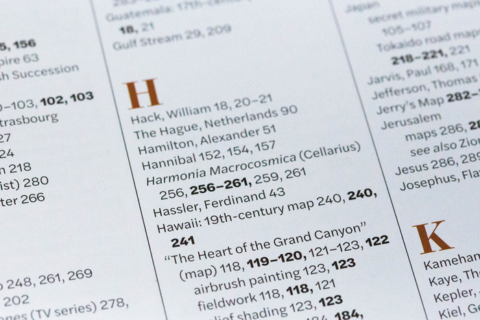 The table of contents is presented in a multi-column layout set in Halyard Text.